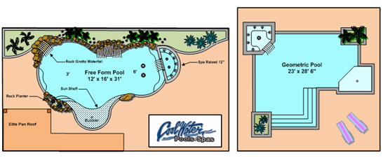 Swimming pool designs and swimming pool plans in the tampa for Swimming pool floor plan