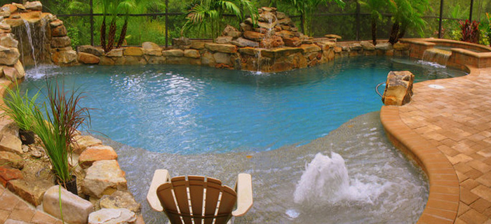 Inground Pool, Pool Deck Pavers, Waterfall