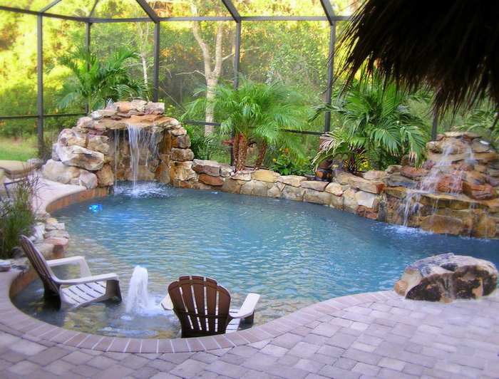 tropical backyards with a pool home designer. Black Bedroom Furniture Sets. Home Design Ideas
